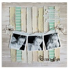 use SU doily stamp to make the photo banner..love the distressed strips of pastel papers over the whitewash wood grain