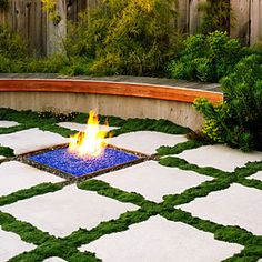 Modern Garden Art Designs Luv this - grid pattern on patio (thyme) & fire pit has blue, recycled, glass gravel.Luv this - grid pattern on patio (thyme) & fire pit has blue, recycled, glass gravel. Outdoor Rooms, Outdoor Gardens, Outdoor Living, Outdoor Decor, Modern Gardens, Modern Garden Design, Landscape Design, Landscape Architecture, Garden Paths
