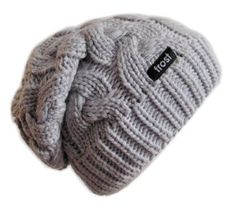 6a456feb805e8 Amazon.com  Frost Hats Winter Hat for Women GRAY Slouchy Beanie Cable Hat  Knitted