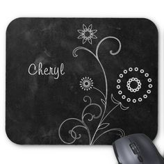 A bohemian style black and white mousepad with a white floral chalk drawing of a dandelion puff and other wild flowers amidst filigree swirls against a black chalkboard slate style background. Personalize this pretty blackboard design by adding your name. Chalkboard Doodles, Chalkboard Art Quotes, Chalkboard Writing, Chalkboard Designs, Chalkboard Paint, Blackboard Drawing, Chalkboard Drawings, Chalk Drawings, Summer Chalkboard Art