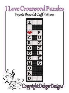 I Love Crossword Puzzles - Beaded Peyote Bracelet Cuff Pattern