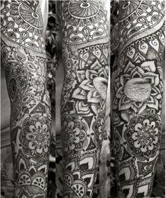 woman zentangle mandala sleeve tattoos - Google Search