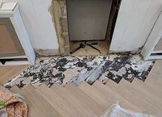 An example of our restoration work. The parquet blocks by the fireplace were damaged by other workmen, so we had to lift and replace them with new blocks. Wooden Flooring, Hardwood Floors, Wood Floor Restoration, Stairs Cladding, Animal Print Rug, Home Decor, Wood Flooring, Wood Floor Tiles, Decoration Home
