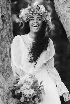 ethereal, bride, natural hair, curly hair, flowers in hair, beauty