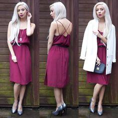 Motel Rocks Burgundy Dress, Baia Mini Bag, Topshop Boyfriend Coat, Traditional Heart Necklace