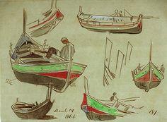 March 19 1866. 181 [probably Maltese boats on Gozo] - Edward Lear