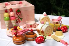 How adorable is this brightly colored Afternoon Tea Set for kids? Wooden food painted in luscious colors for fun pretend time. I love this and would love to own it for myself - just for display. Picnic Cake, Afternoon Tea Set, Alcohol Cake, Wooden Food, Wooden Cake, Pink Sweets, Strawberry Tea, Little Girl Toys, Party In A Box