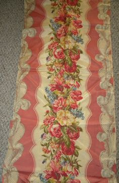 Shabby Vintage Barkcloth Era Fabric Luscious Rose by RuinsCa, $115.00