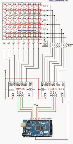 Method to Control 8*8 LED Matrix using Shift Register IC 74595 and Arduino Mega…