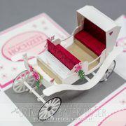 Explosionsbox mit einer weißen Hochzeitskutsche. Größe der Box: 15x10x10 cm. Passend als Geldgeschenkverpackung zur Hochzeit.