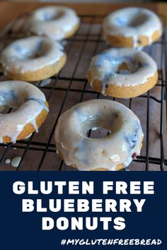 These tender and delicious donuts taste so light and fresh. They are even egg free and gum free! There are so many things to love about these blueberry donuts: taste, texture, ease of preparation, but the blueberries are definitely the star of the show. Gluten Free Donuts, Gluten Free Baking, Gluten Free Desserts, Gluten Free Recipes For Breakfast, Gluten Free Breakfasts, Real Food Recipes, Gf Recipes, Bread Recipes, Baking Recipes