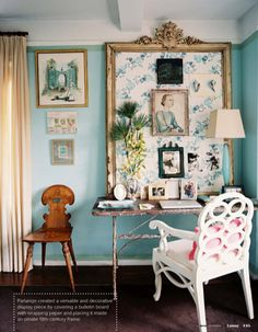 """formal """"bulletin board"""" inside mirror: fabric or wall paper ground."""
