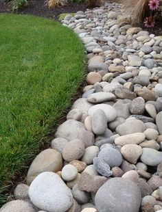 New landscaping around house foundation rock border 43 ideas Decorative Rock Landscaping, River Rock Landscaping, Landscaping Around House, Landscaping With Rocks, Front Yard Landscaping, Backyard Landscaping, Landscaping Ideas, Backyard Ideas, Sloped Backyard