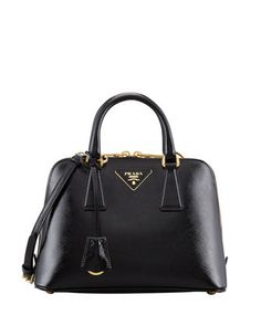 Saffiano Vernice Promenade Crossbody Bag, Black by Prada at Neiman Marcus.