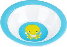 Smullen maar, het diepe bord met baby's lievelingseten staat klaar. En wie wacht op de bodem van het bordje… Otto!