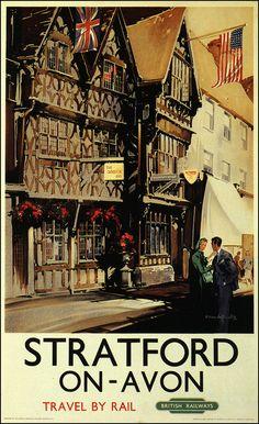 Art Print: Stratford-on-Avon, England - Garrick Inn and Harvard House Rail Poster by Lantern Press : Posters Uk, Train Posters, Railway Posters, Poster Ads, Advertising Poster, England Travel Poster, Pub Vintage, British Travel, Stratford Upon Avon