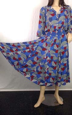 Vintage 80s Diane Freis Dress Mixed Graphic by sixcatsfunVINTAGE