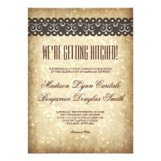 Getting Hitched Vintage Sparkle Wedding Invitation Personalized Announcements  #rusticcountrywedding #countrywedding #countrystyleweddinginvitations