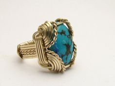 Oval Wire Wrap Turquoise Sterling Silver / Gold by JandSGems