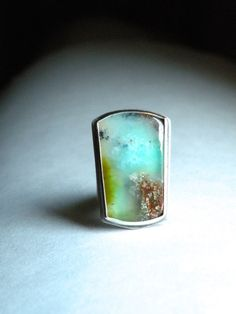 Sterling and Chrysoprase Ring  Down By The by BlueGnomeEmporium
