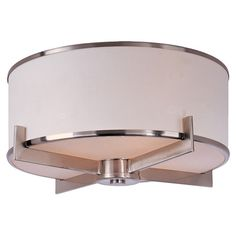 Illuminate+your+foyer+or+entryway+in+style+with+this+contemporary+flush+mount,+featuring+a+satin+nickel+finish+and+white+fabric+drum+shade.