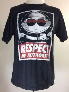 South Park Cartman Respect My Authority Classic Cop Retro Black T-Shirt Men's L #SouthPark #GraphicTee