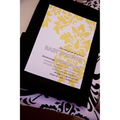 Chic Vintage Damask Gender Neutral Shower or Birthday Party Printable Invitation - Yellow