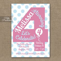 4th Birthday Invitations Printable Fourth Invitation Girls Party Pink Four Year Old Invites 4 Years PGBD