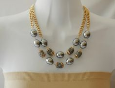 Bib Necklace Layered Necklace Gray Baroque Pearl by stylelovers