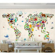 Great G nstige Wandbild Fototapete Tier Karte Der Welt Cartoon Kinderzimmer Wandbild Kaufe Qualit t Tapeten direkt vom