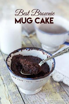 Best Keto Brownie Mug Cake (low-carb, nut-free, paleo) Mug Recipes, Whole Food Recipes, Cake Recipes, Dessert Recipes, Simple Recipes, Quick Keto Dessert, Snacks Recipes, Paleo Dessert, Delicious Recipes