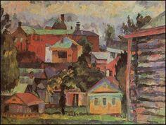 Landscape with a woodshed, Sergiev Posad (1922) Aristarkh Vasílievich Lentulov (Аристарх Васильевич Лентулов. Unión Soviética. Rusia, 1882-1943)