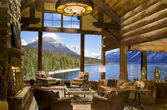 Drum roll please.....the perfect vacation log home, on a lake and in the mountains! The view to Swan Lake and the Swan/Mission Mountain Range in Montana is amazing. By High Country Builders in Montana