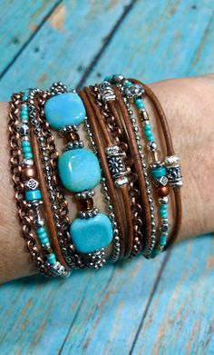 Turquoise Leather Wrap Bracelet, Boho Style ~ Mermaid Blue - new season bijouterie Bracelets Wrap En Cuir, Bracelet Wrap, Beaded Wrap Bracelets, Gold Bracelets, Diamond Earrings, Diamond Pendant, Bohemian Bracelets, Crystal Earrings, Bangles