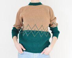 Vintage Sweater // Green x Beige Vintage Knitted by DejaYu on Etsy