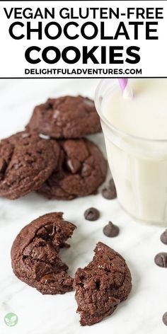 Soft and fudgy gluten-free vegan chocolate cookies packed with chocolate chips. This recipe is a must-make because it's quick and easy to make, plus you're going to end up with a batch of the most ultimate, tasty vegan double chocolate cookies. These cookies are simple, rich, chocolaty, chewy, and the best soft gf vegan cookies around! They can be made with vegan butter or if you want no butter, you can use coconut oil instead, all the details are included in the recipe. Recipes With Vegan Butter, Flour Recipes, Vegan Dessert Recipes, Sweets Recipes, Vegan Recipes Easy, Free Recipes, Vegan Gluten Free Cookies, Gluten Free Chocolate Cookies, Double Chocolate Chip Cookies