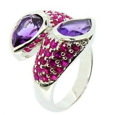 Get the best price for  LenYa Special - Unique and uncommon design, Valentines Day Sterling Silver Ring with Pear Amethyst, Round Ruby, (Ring Size 7.5)