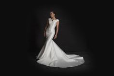Grace Philips 2017 Paloma Mikado A-line mermaid contemporary wedding dress with cap sleeve and godet train