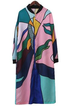 Stand-Up Collar Color Block Print Dress
