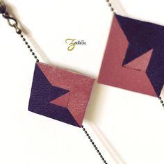 """Boucles d'oreille losange cuir violet rose graphique - modèle """"Kôlam"""" Coll. HOLI // Zaelleza - géométrique // graphique // élégante"""