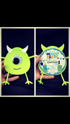 Monsters inc first birthday party invitations :) made with my cricut! :)
