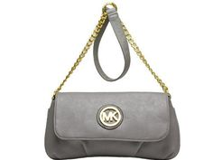 Michael Kors Dolden Chain With Flap Grey Saddle Bag