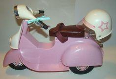 "Our Generation Battat 18"" Doll Pink Scooter Vespa Moped Helmet Fit American Girl #Battat #Vehicles"