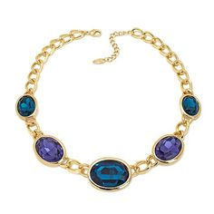 "Roberto by RFM ""L'eleganza"" Oval Stone Station Necklace"