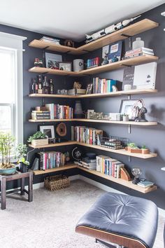Masculine Home Office Home Tour. Modern classic home tour of a masculine home office with simple, stylish decorations. Home Library Design, House, Home, Home Libraries, Bookshelves, Bookshelf Design, Small Home Libraries, Masculine Home Offices, Office Design