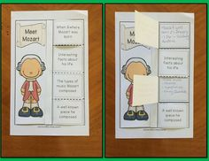 COMPOSERS: MOZART & HIS MUSIC FOLDABLES This file contains TWO different folables in both COLOR & B/W 1. MEET MOZART FOLDABLE: Students' record facts they have learned about Mozart 2. MOZART'S MUSIC: This foldable is a perfect accompaniment to foldable 1, or can be used on its own to respond to Mozart's music during a listening lesson.