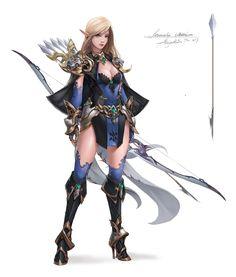 Artstation - elf archer, zhang wenmo elves in 2019 character Fantasy Girl, Fantasy Female Warrior, Female Armor, Warrior Girl, Fantasy Armor, Fantasy Women, Dark Fantasy Art, Fantasy Images, Female Character Concept