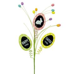 """Chalkboard Easter Egg Spray Size: 26"""" length Spray has three flat, glittered chalkboard Easter eggs that say Happy Easter and one with a bunny on it. Color: Pink, Yellow, Green  Arriving"""