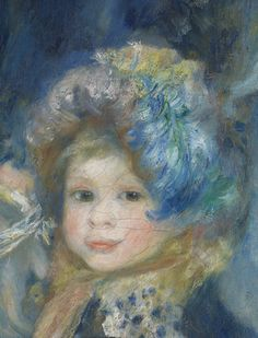 Detail from 'The Umbrellas' by Renoir is bewitching. This little girl is one of the figures on the right in the painting, which were painted at an earlier stage. The soft lines that outline her face and also her costume show that probably she was pictured in around 1881–82. Renoir added another figure to the painting at a later stage, but in a more severe style. The little girl's naïve expression, filled with childlike joy, makes our little hearts melt.