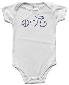 Peace Love Michigan Baby Onesie. Printed on super comfy American Apparel cotton. #michiganawesome